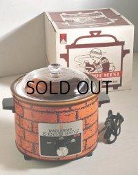 """マルビシ  ELECTRIC COOKER """"SLOW POT MINI""""  スローポット ミニ  レンガ柄  電気陶器鍋(電気調理鍋)  容量: 2.2 L"""