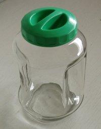 ガラスキャニスター/ガラス容器/キャンディポット  蓋:プラスチック系樹脂 グリーン size: Φ13× H20.5(cm) 口径Φ8cm