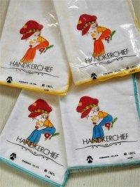 HANDKERCHIEF ハンカチ   男の子とネコ  SHIROHATO CO., LTD.  ガーゼ生地  縁 A:イエロー B:ブルー 各1枚