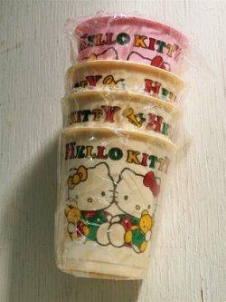 画像1: サンリオ HELLO KITTY  プラスチックカップ  ピンク1/アイボリー3 4個セット  size: topΦ7cm・H7.5cm・bottomΦ5cm/ 180ml