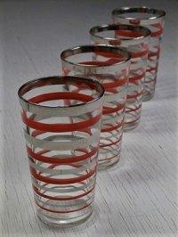 50'sプリントグラス  ストライプ(シルバー/レッド)  ハンドペイント  size: Ø5.5×H9.3(cm)  各1個