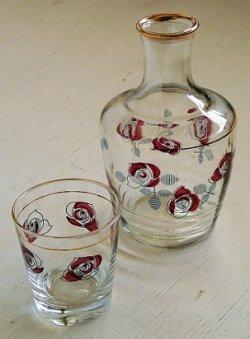 画像1: ADERIA アデリア  グラス&水差しセット ローズ/薔薇 イラストプリント