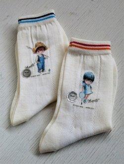 画像1: フクスケ  靴下2ペアーセット  Moppets  フィッシング男の子&テニス女の子  ©FRAN MAR MC SONY ENTERPRISE CO .LTD  size:子供用 17-18/ アクリル、ナイロン、毛