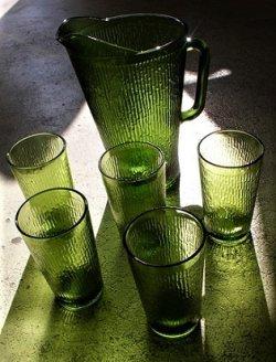 画像1: BARTLETT COLLINS U.S.A.  カラードガラス  ピッチャー&タンブラー(グラス)  6pcセット(ピッチャー:1個/タンブラー5個)  color: フォレストグリーン