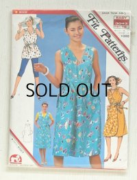 ジャノメ・フィット・パターン Fit Patterns  EASY ミス・ミセス 3043   早裁ち・早縫い  裁ち方・縫い方説明書付き  簡単夏服 3種   ラップドレス、サマードレス、サマートップ