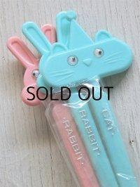 プラスチックマドラー  Rabbit (パステルピンク、パステルブルー)、Cat(パステルブルー) 3本セット  size: L20cm