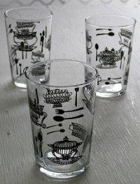 SASAKI GLASS  東欧風ポット&カトラリー柄グラス3pcセット  size: topΦ6・H9・bottomΦ5(cm)