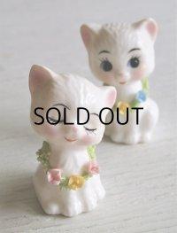 KATO KOGEI  ミニチュア 猫 ペアー置物  BONE CHINA 磁器  size: H4.2cm