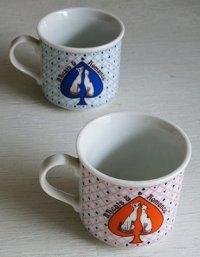 KEINAN  CHINA 磁器製  ぺアマグカップ  B, F,cats& Romance  シャム猫  size:⌀7.2cm(ハンドル含む9.8cm)×H6.5cm