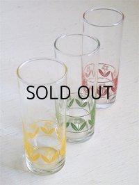 SASAKI GLASS ロング/トール/コリンズグラス3pcセット  フラワー(イエロー、グリーン、レッド)  size: topØ5.5 ×H14.3 (cm)