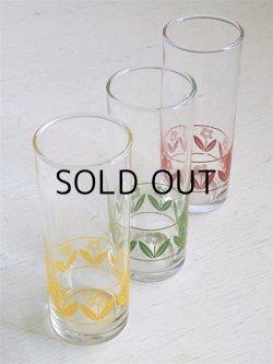 画像1: SASAKI GLASS ロング/トール/コリンズグラス3pcセット  フラワー(イエロー、グリーン、レッド)  size: topØ5.5 ×H14.3 (cm)