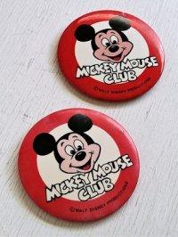 缶バッチ  MICKEY MOUSE CLUB (ミッキーマウス・クラブ)  ©WALT DISNEY PRODUCTIONS  各1個(A,B)