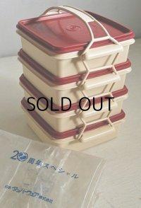 Tupperware タッパーウェア  20周年スペシャル  カルテット(四段重箱) すのこ2枚付  color: レッド×アイボリー