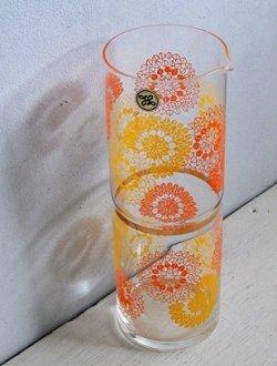 画像1: SASAKI GLASS  水差し/ピッチャー  幾何学模様プリント(オレンジ、イエロー)