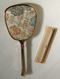 ハンドミラー&クシ set  フラワー刺繍、ゴールド  MADE IN U.S.A.  C 021L3