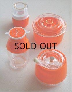 画像1: キッタカプラスチック  卓上4pcセット  (容器、醤油さし、楊枝入れ、スプーン付シュガーポット)  color: オレンジ