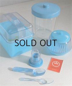 画像1: 小田急・新宿   リスマーク  プラスチック容器&スプーンセット  パンケース、シュガーポット、キャニスター、つま楊枝入れ、スプーン6本  みずいろ