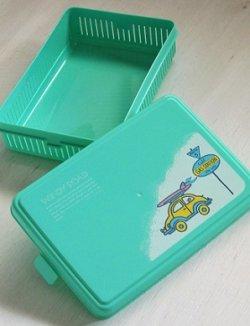 画像1: バスケット/お弁当箱  WINDY ROAD  ワーゲン&サーフボード  color: エメラルドグリーン