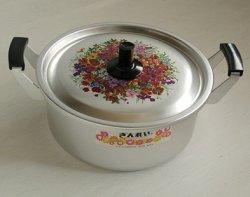 画像1: ぎんれい  アルミ製両手鍋  花柄  ⌀22 cm