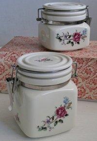セラミックキャニスター/ 陶器密封瓶  大小2個セット  薔薇プリント