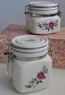 画像1: セラミックキャニスター/ 陶器密封瓶  大小2個セット  薔薇プリント
