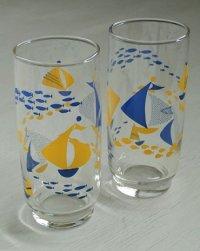 トールグラス2個セット  ヨット、魚