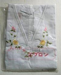 おしゃれエプロン  Vネック  バラ刺繍  丈80cm ヒザ付
