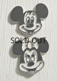 ミッキーマウス&ミニーマウス   フェイスシェイプ  ラバーマグネット   2pc セット  WALT DISNEY PRODUCTIONS