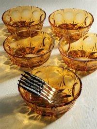 Soga  Glass  アンバープレスガラスボウル  &フルーツフォーク 5pc  セット