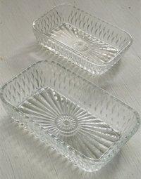 DURALEX デュラレックス   FRANCE  プレスガラス  レクタングル  小皿/小鉢/キャニスター  2サイズセット