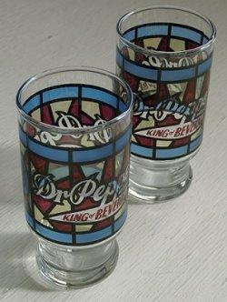 画像1: KING OF BEVERRAGES  Dr Pepper  ドクターペッパー  ステンドグラス風  トールグラス/タンブラー  各1個
