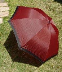 折りたたみ傘   ドット・水玉  ワインレット /黒  ナイロン100%