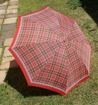 折りたたみ傘   アイデアル  タータンチェック  レッド  ナイロン100%