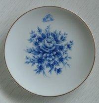 victor  HIS MASTER'S VOICE  お皿、飾り皿  ブルーフラワーペイント  ゴールドリム