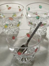 TOYOガラス  アイスクリームカップ&スプーンセット(フルーツ)  アイスクリーム5/スプーン 5