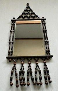 ウッドビーズ/木製珠  壁掛けミラー