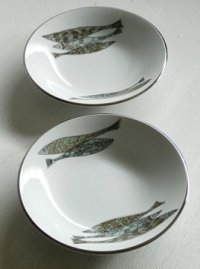 MIZUNO TOKI  お魚プリント  陶器 スープ皿 2枚set