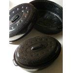画像: ホーロー Oval Roasting Pan オーバルローストパン ブラック&ホワイトスパークル (1)size M (2)size L  各1個