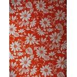 画像: コロナール戸部 生地(ワンピース丈分) 花柄 オレンジ×白 size:118×250cm