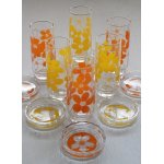 画像: SASAKI GLASS  フラワープリント  ロンググラス&コースター   各1セット