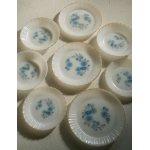 """画像: Termocrisa  Mexico  """"Blue Flowers""""  Milk Glass Plates/Soup Bowl   メキシコ製  ミルクガラス  ターモクリサ  """"ブルーフラワー柄"""" プレート/スープボウル  各1枚"""