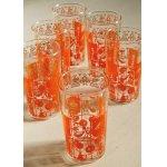 画像: プリントグラス  さくらんぼ/チェリー  オレンジ、ゴールド  各1個