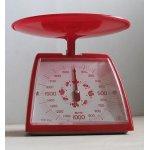 画像: TANITA  クッキングメーター  レッド/フラワーパターン   秤量 2kg 最小目盛 10g   取扱説明書/カロリー表シールあり