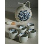 画像: 白山陶器  ウイスキーセット (ポット1pc/ショット5pc) 白マット花紋