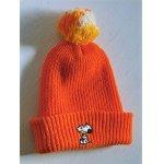 画像: SNOOPY PEANUTS  HI-BULK ORLON SKI HAT WITH POM POM   スヌーピー&ウッドストック キッズポンポン付ニット帽  color オレンジ