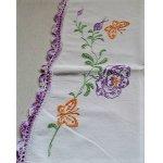 画像: U.S. コットンピローケース トリム付 刺繍(バタフライ&フラワー)