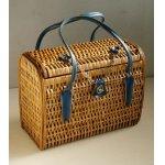 画像: 竹編みバスケット/ハンドバック  ハンドル:合皮  チェーン、金具付