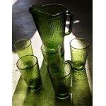 画像: BARTLETT COLLINS U.S.A.  カラードガラス  ピッチャー&タンブラー(グラス)  6pcセット(ピッチャー:1個/タンブラー5個)  color: フォレストグリーン