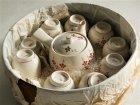 画像: 玉泉 急須、湯呑9客、お茶桶セット 梅の花柄