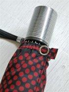 画像: 折りたたみ傘  ドット・水玉 ワインレット /黒 ナイロン100%